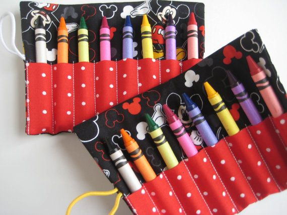 Crayon Roll Mickey Mouse Includes 8 Crayons by adorableblessings