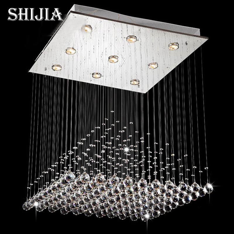 Modern wave k9 crystal hanging wire ball square pendant lamp modern wave k9 crystal hanging wire ball square pendant lamp lighting fixture rain drop curtain glass aloadofball Images