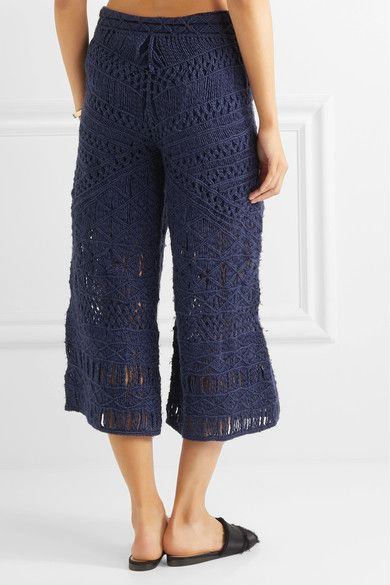 Sahara Macramé Silk And Cotton-blend Culottes - Midnight blue Tabula Rasa UDhFZ