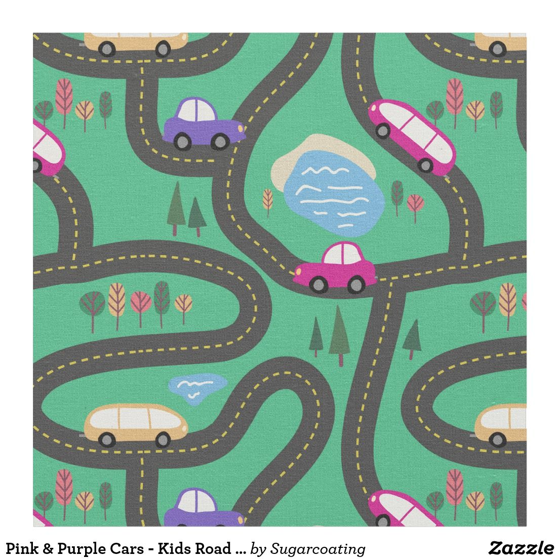 Pink Purple Cars Kids Road Map Fabric Cool Fabric Featuring - Kids road map