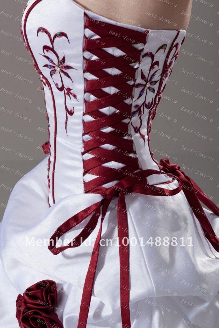 Love the red   Wedding dresses corset, Red wedding dress, Cheap ...