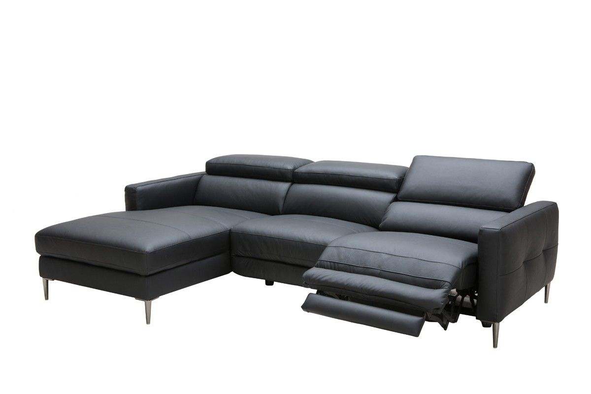 Divani Casa Booth Modern Black Leather Sectional W Electric