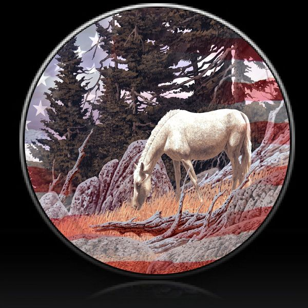 Horse And Flag Spare Tire Cover Custom Tire Covers Spare Tire