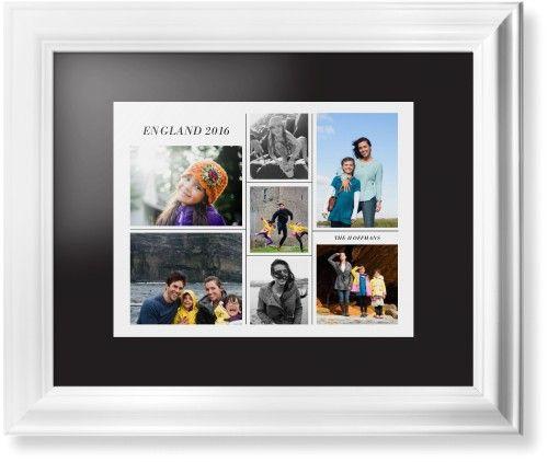 Contemporary Grid Framed Print, White, Classic, None, Black, Single piece, 11 x 14 inches, White