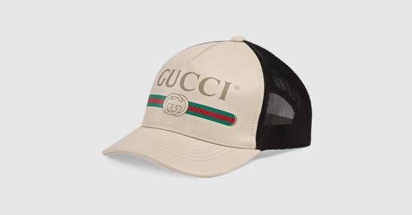 a3104398 Gucci Print leather baseball hat - Gucci Men's Hats & Gloves 4268874HD939060
