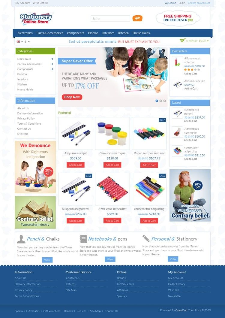 Stationery OpenCart Template is specially designed for stationery ...