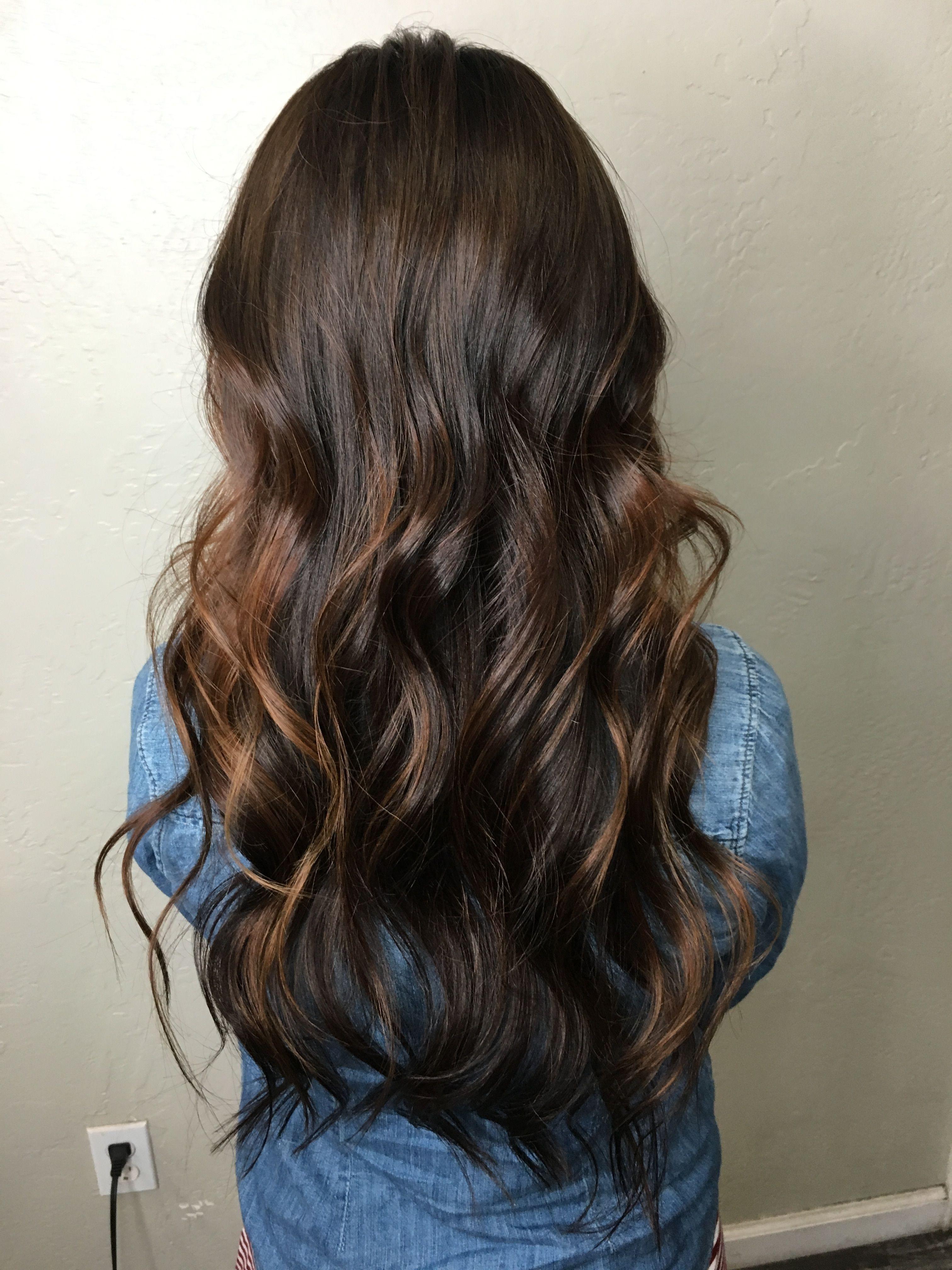 Long Hair Dark Hair Dark Brown Hair Balayage Hair Caramel