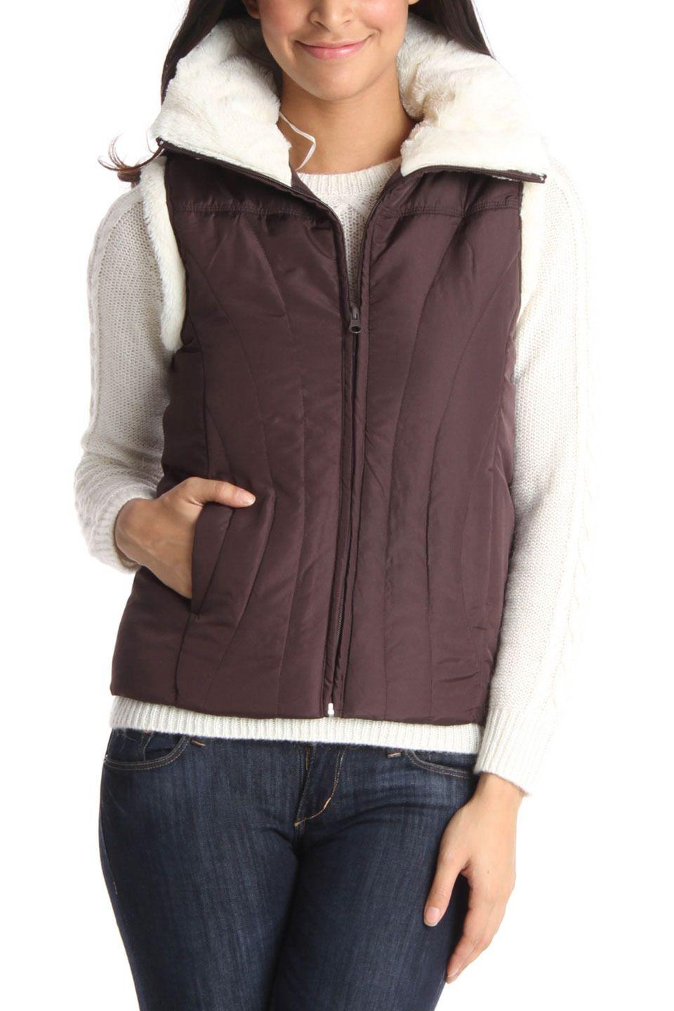 contact Fleece Vest In Chocolate - $19.99