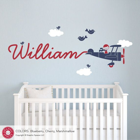 Airplane Name Wall Decal Boy Skywriter Travel Theme Nursery Kids Childrens  Room Airplane Wall Sticker