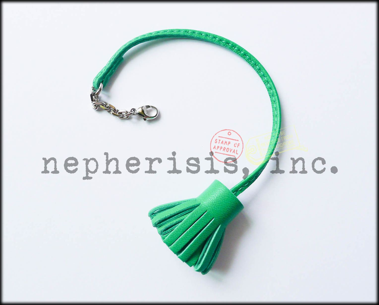 Hermes Carmencita bookmark or bag charm. Color is Menthe. Large size. New condition with Hermes box & ribbon.