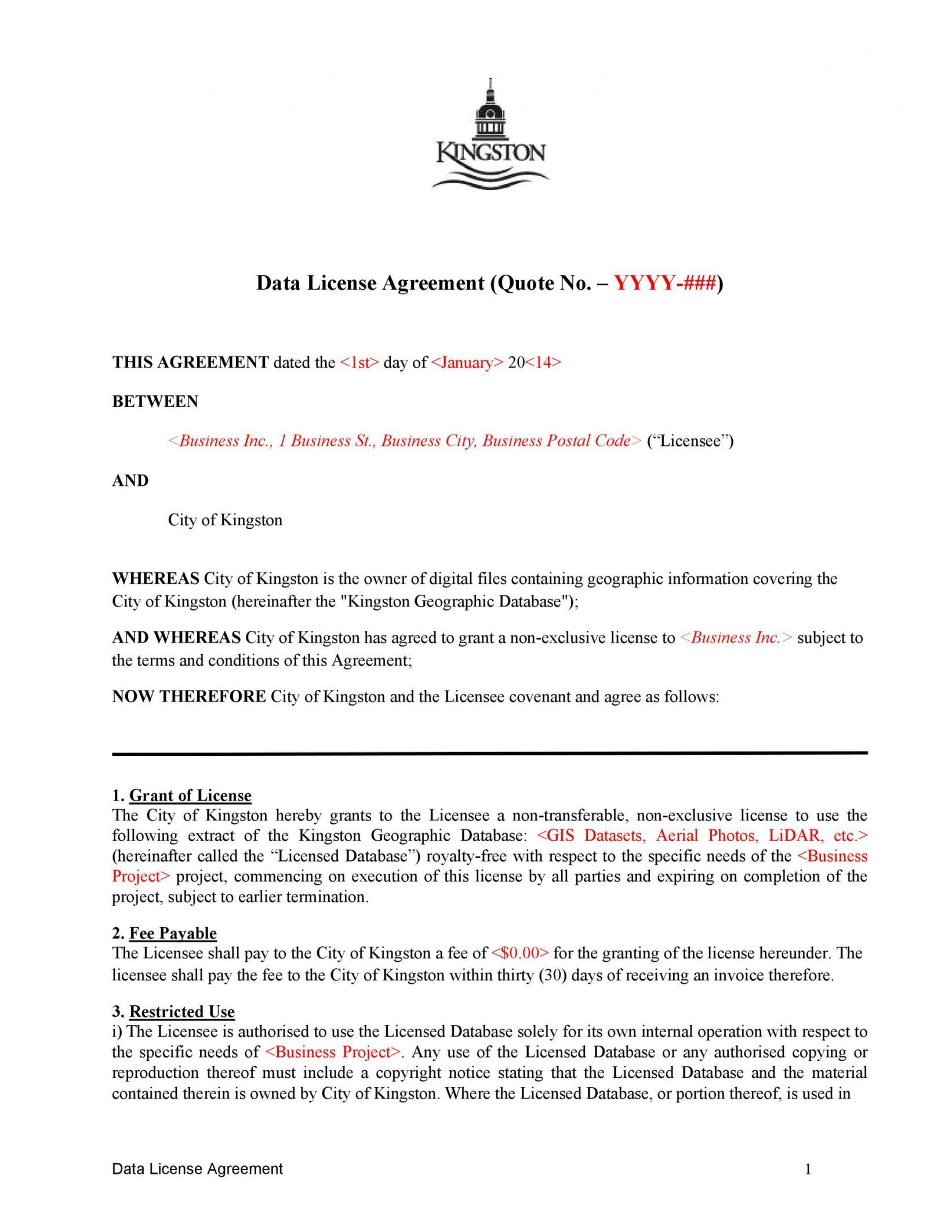 Browse Our Sample Of Royalty Free License Agreement Template For Free Photography License Agreement Quote Agreement Royalty free license agreement template