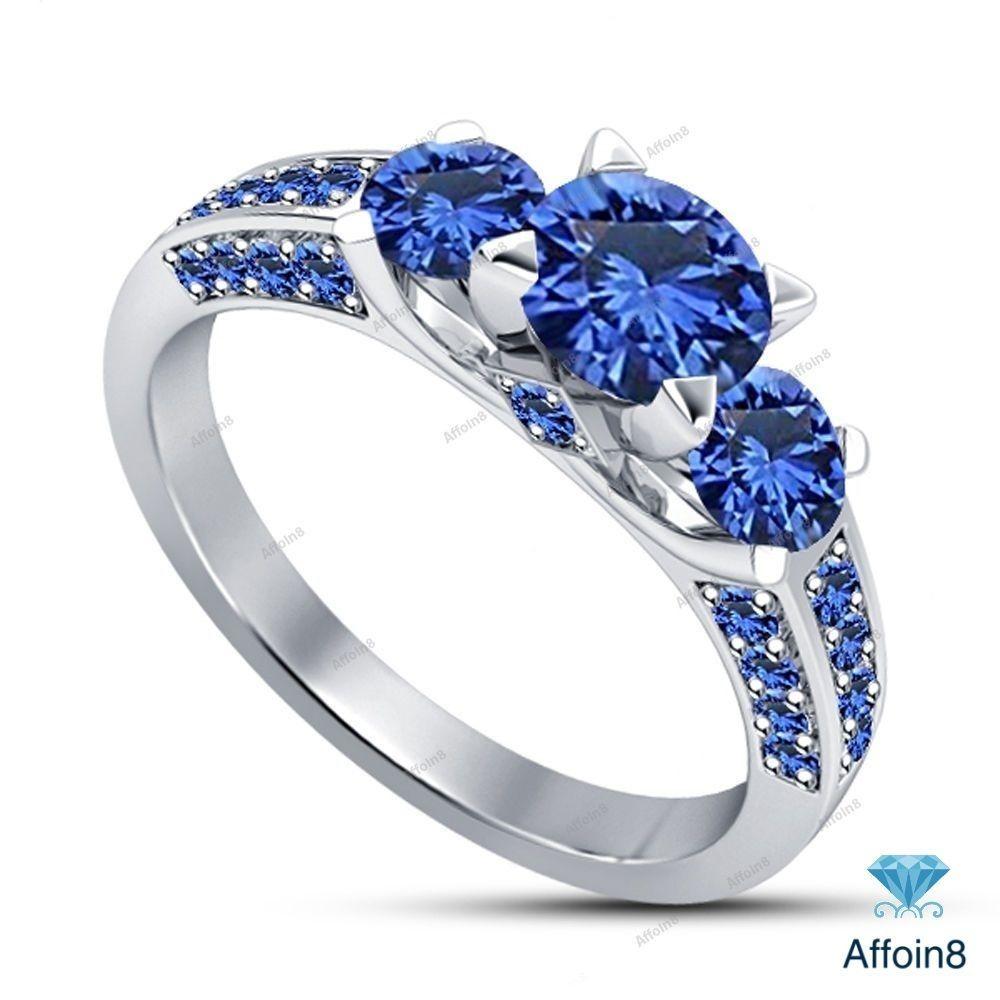 1.35CT Round Cut Blue Sapphire 14k White Gold Plated Three Stone Engagement Ring #Affoin8 #ThreeStoneEngagementRing