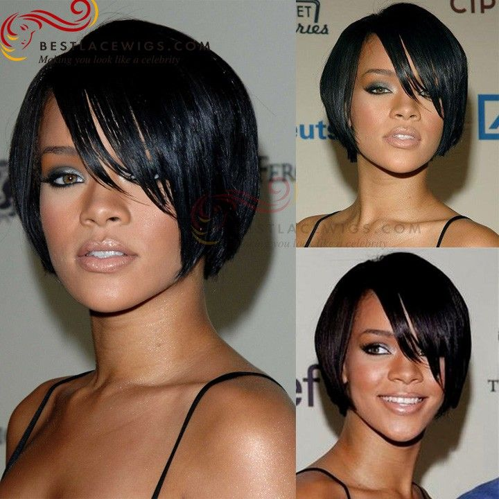 Rihanna Short Indian Remy Hair Lace Wigs With Bangs | www.BestLaceWigs.com