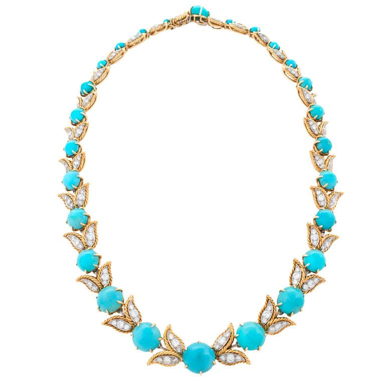 1960s  Diamond and Turquoise Necklace