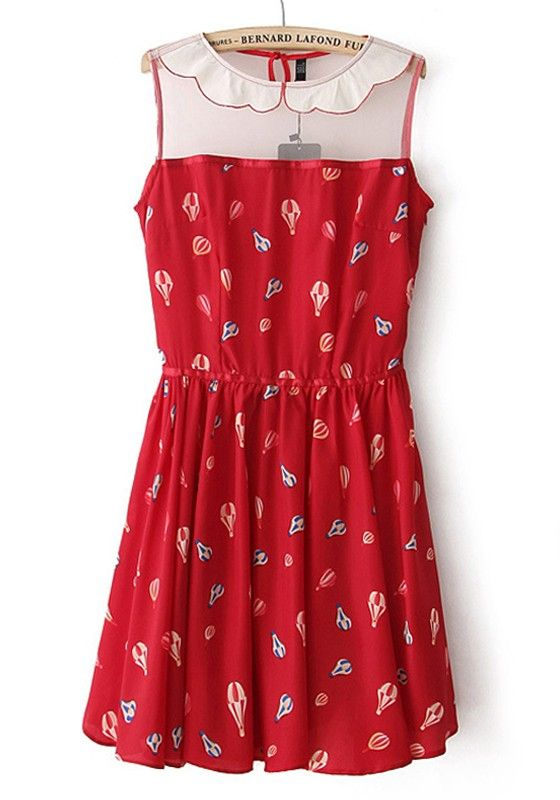 Red Balloon Print Patchwork Lapel Chiffon Dress