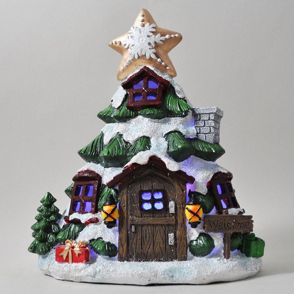 Polymer Clay Christmas Village.Christmas Fairy House Christmas Tree With Lights Fairy