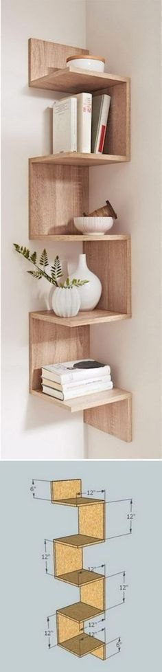This DIY shelving is great for any corner and adds a space to add decor
