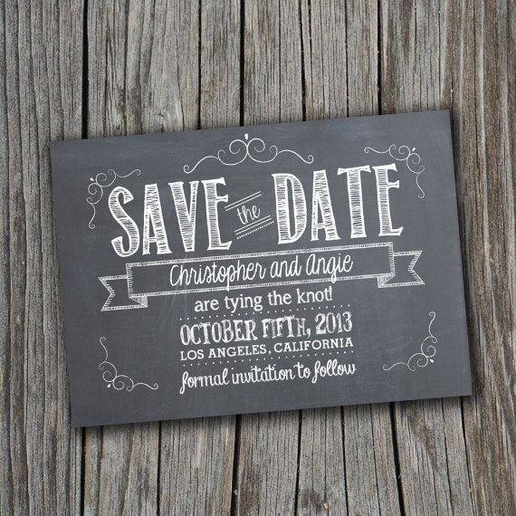 Chic Chalkboard Personalised Black and White Printable Save The Date Postcard Template Download