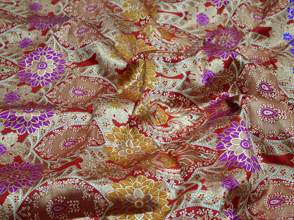 Orange Brocade Fabric by the Yard Indian Fabric Wedding Dress Fabric Banarasi Brocade Fabric with Border for Lengha Costume Crafting Sewing