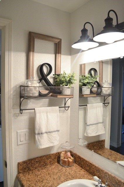 Farmhouse bathroom decor. towel rack & farmhouse bathroom organization. Farmhouse bathroom decor. towel ...