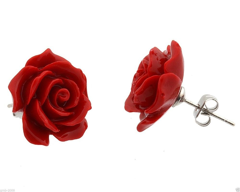 A Picture Jewelry 12mm Coral Red Rose Flower Coral Red Natural Stone 925 Sterlin Sterling Silver Earrings Studs Fashion Jewelry Earrings Silver Wedding Jewelry