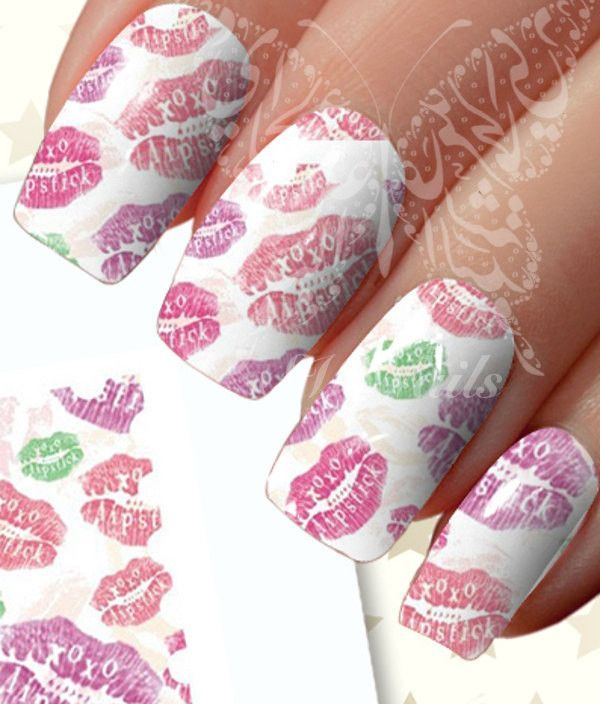 Valentines Day Nail Art Kisses And Lips Nail Water Decals Water