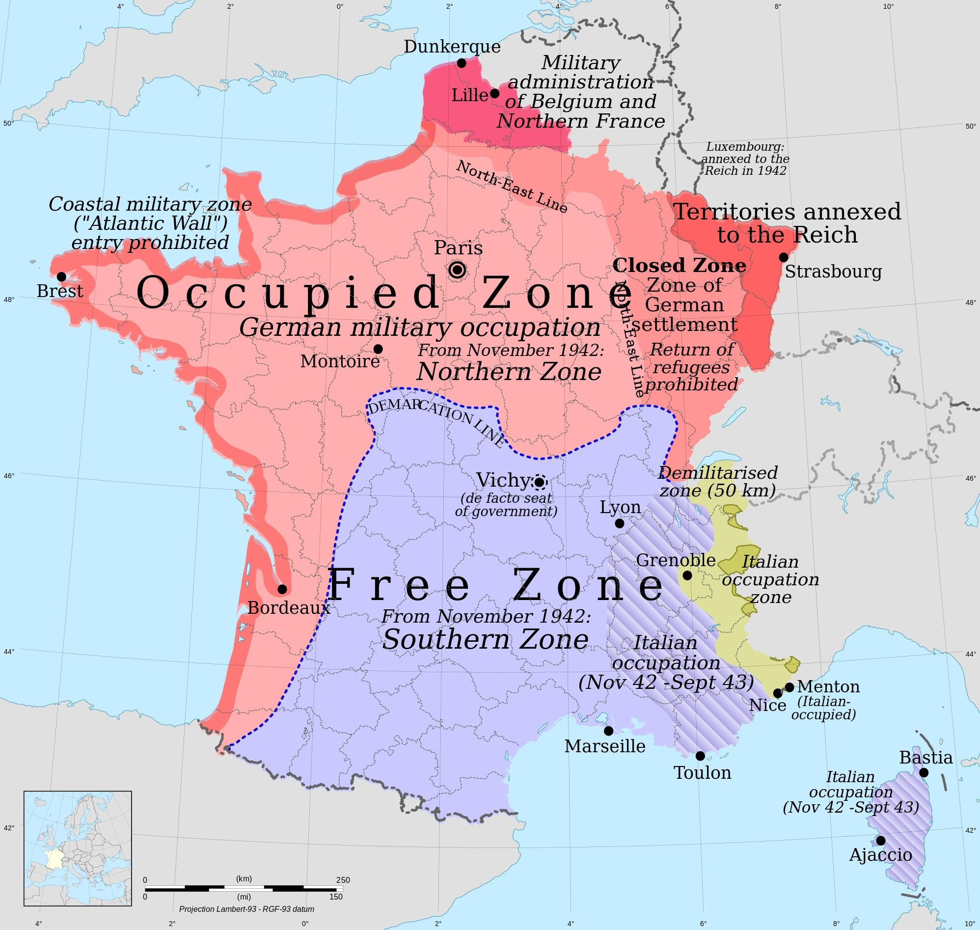 Map Of France During World War Ii.Occupation Zones Of France During The Second World War