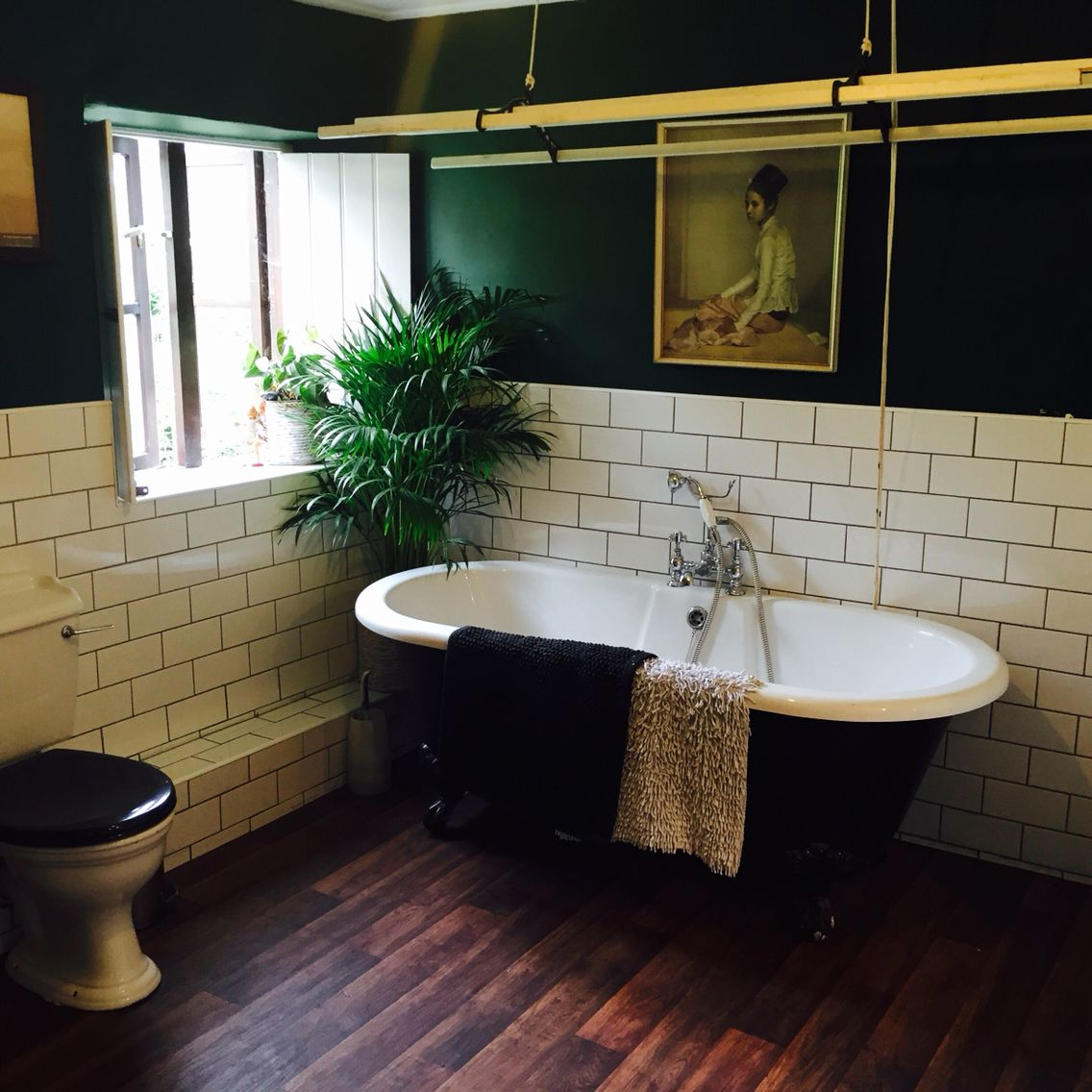 Dark Green Walls Metro Tiles Colonial Ish Bathroom Nearly Finished With Images Green Tile Bathroom Green Bathroom Dark Green Bathrooms