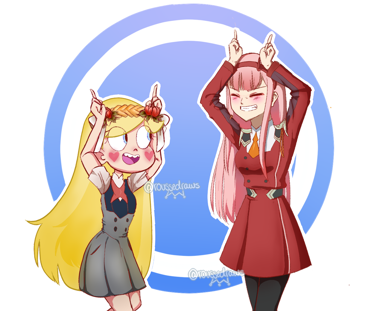 Roussedraws Horns Well I Wanted To Do This Draw And I Did It D I Love Zero Two Findowo Star Vs The Forces Of Evil Anime Crying Darling In The Franxx