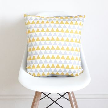 Geometric Yellow And Grey Cushion Cover