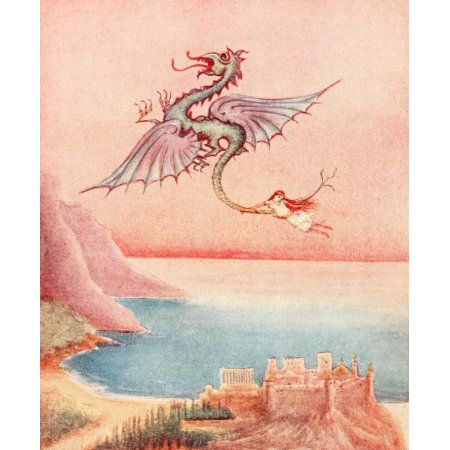 Blue Rose Fairy Book 1911 The Dragon appeared Canvas Art - Unknown (18 x 24)