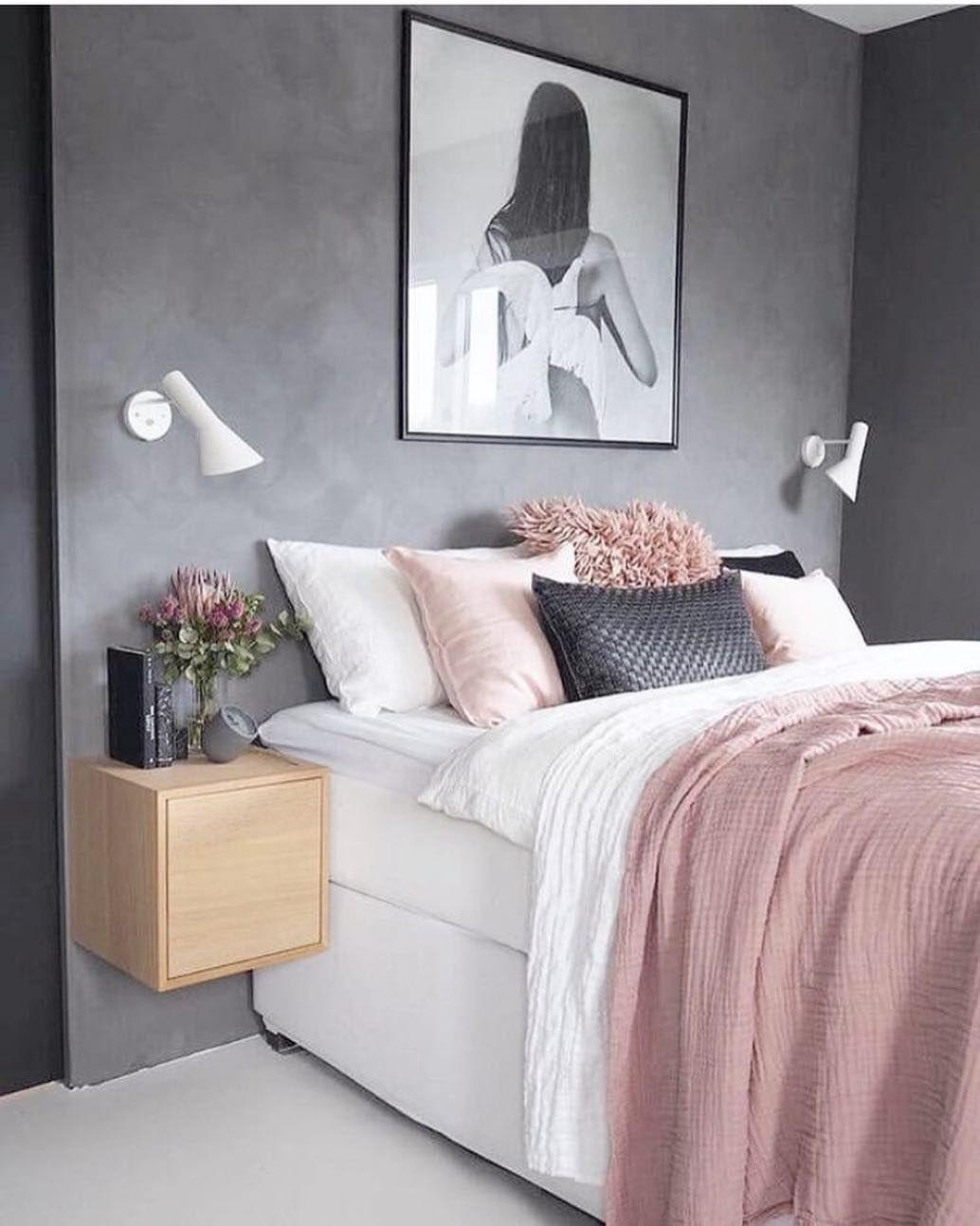 Schlafzimmerinspiration Grau und Rosa im Interieur