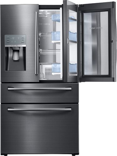 Best Buy Samsung 27 8 Cu Ft 4 Door French Door Fingerprint Resistant Refrigerator With Food Showcase And Thru The Door Ice And Water Black Stainless Steel Rf French Door Refrigerator Samsung Appliances Best French