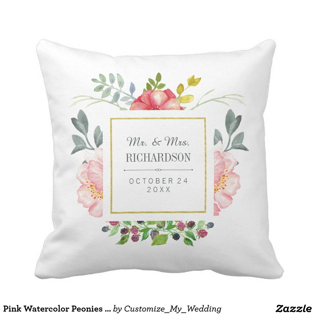 Pink watercolor peonies wedding gift throw pillow by