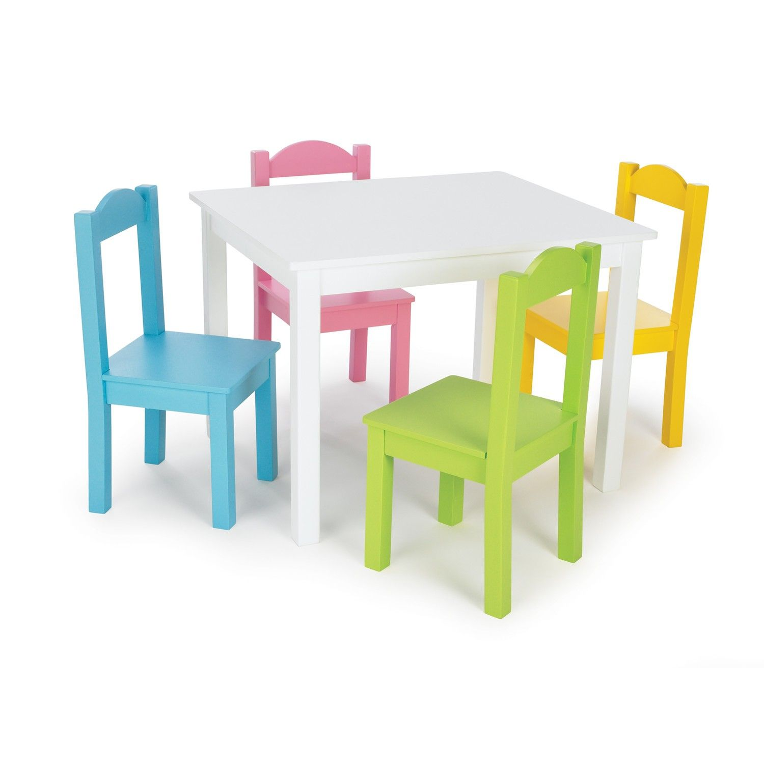 Furniture Kids Room Rectangle White Painted Wooden Table for Four ...