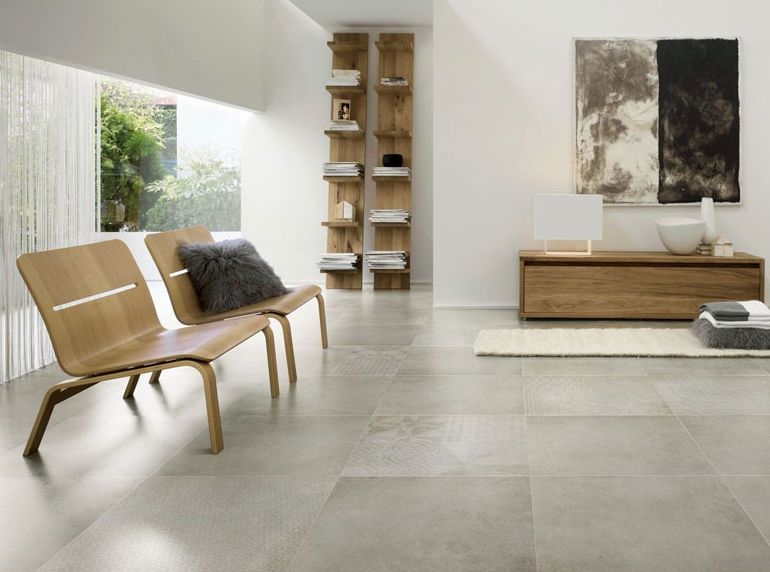 Get The Industrial Look With A Polished Concrete Tile Living Room Tiles Tile Floor Living Room Living Room Flooring