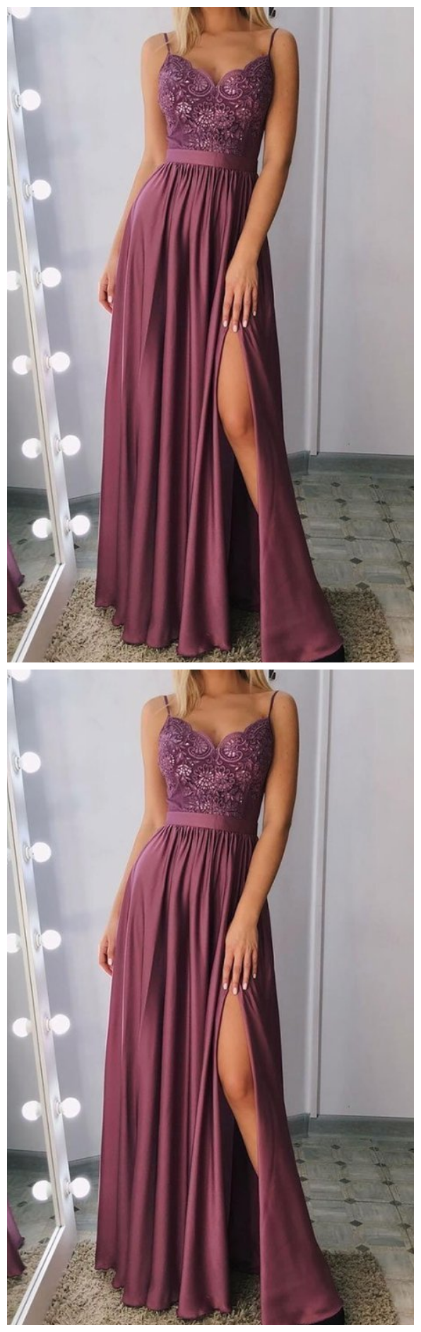 Photo of Stylish v neck satin lace long prom dress, evening dress