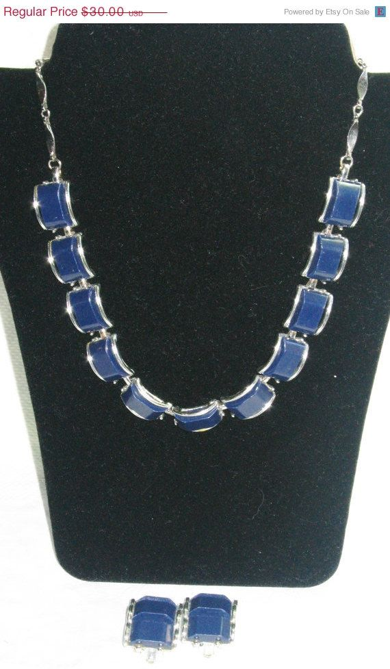 On Sale Denim blue thermoset necklace and clip on by betsstuff, $24.00