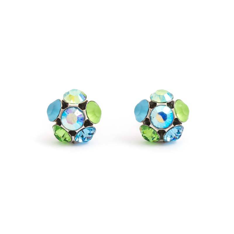 Groen blauwe oorknopjes flower met kristal Oorknopjes