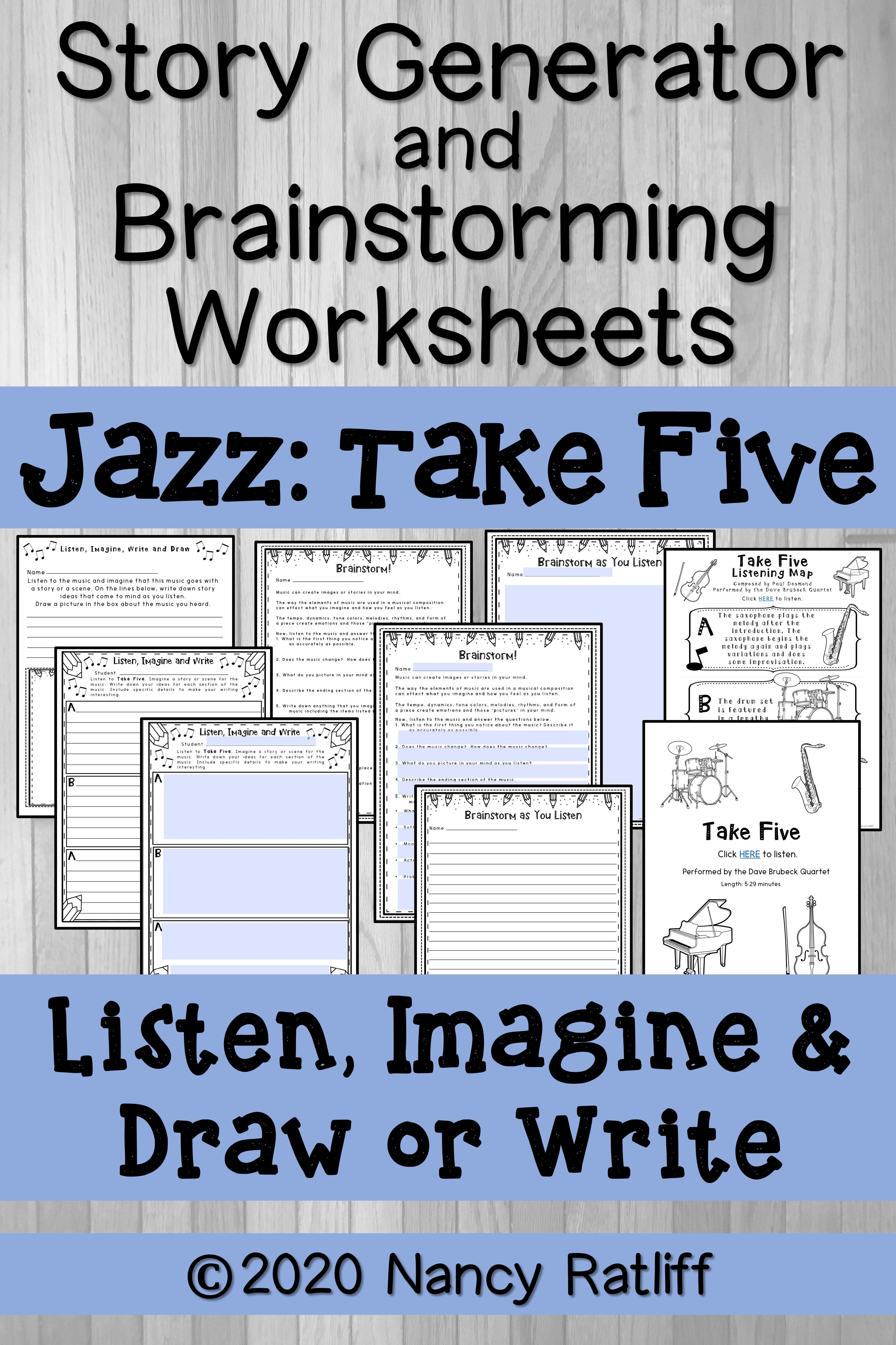 Story Generator Amp Brainstorming Worksheets With Music