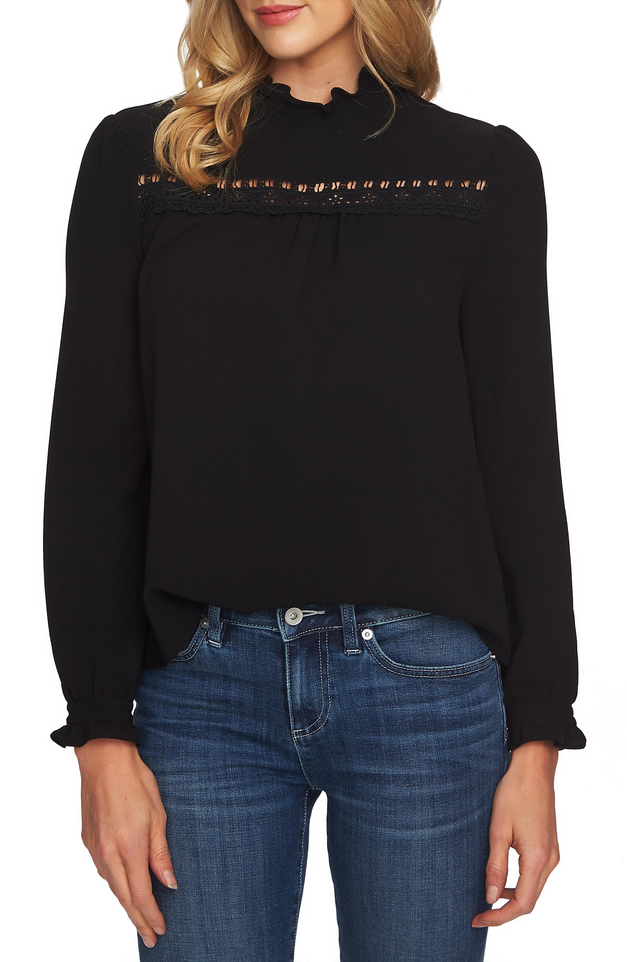 6482db01459d17 Women's Cece Ruffle Neck Lace Detail Blouse, Size X-Small - Black ...