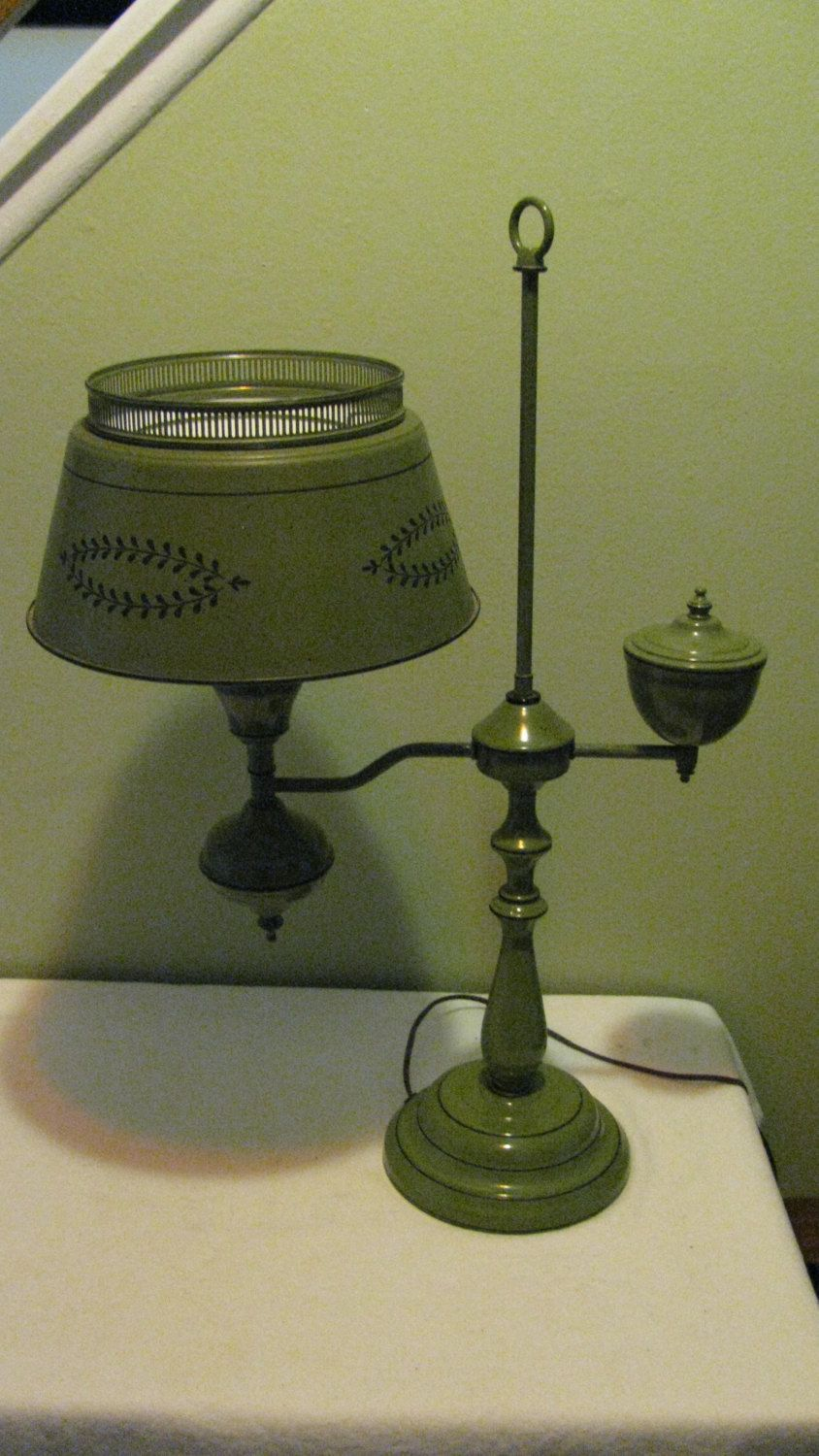 Retro Green Toleware Student Desk Lamp Metal Desk Lamp Antique