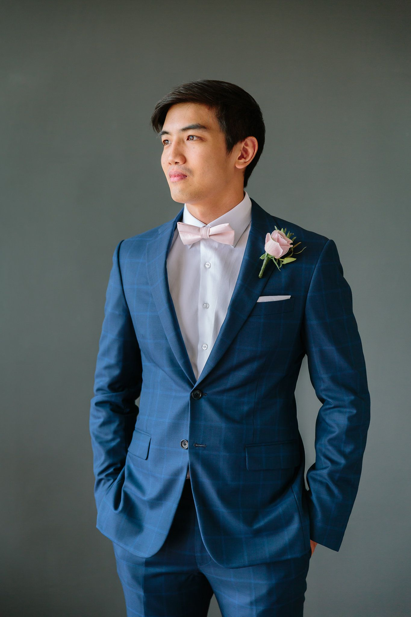 Were You Aware That Happily Ever After Starts On A Beach In Thailand Blue Suit Bow Tie Navy Suit Wedding Pink Prom Suit