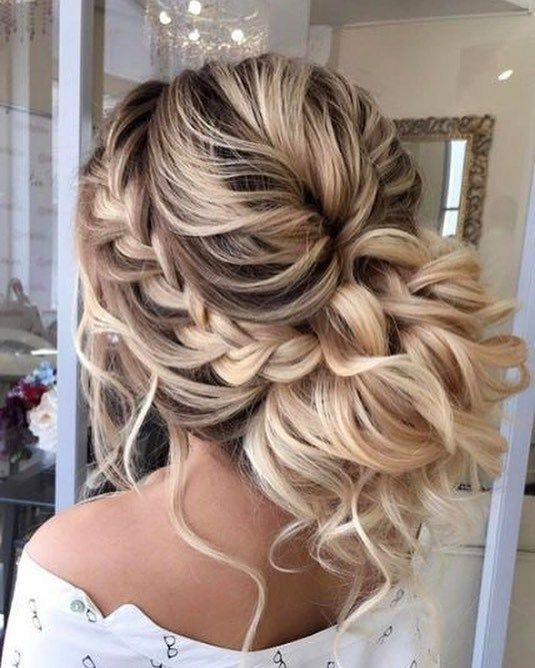 Messy braid and updo hairstyle