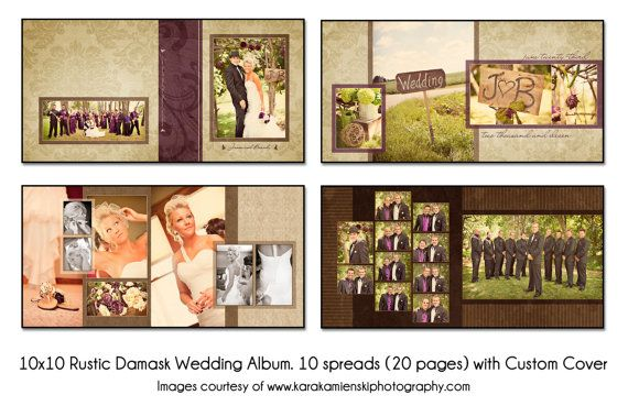 PSD Wedding Album Template - RUSTIC DAMASK- 10x10 10spread (20 ...
