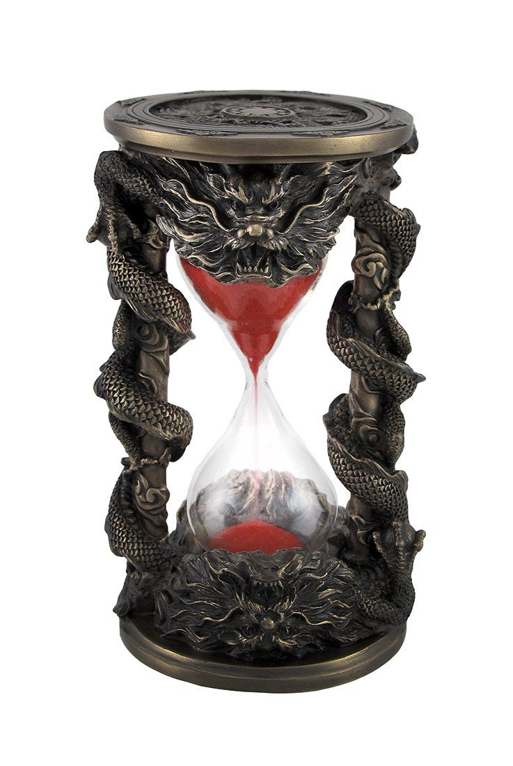7.38 Inch Black Dual Dragon Sand Timer Hourglass Statue Figurine
