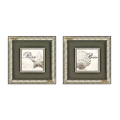 Images of a seashell and starfish bring a relaxing and dreamy quality to your bathroom walls. Double matting and pewter color frames add the subtle finishing touches.