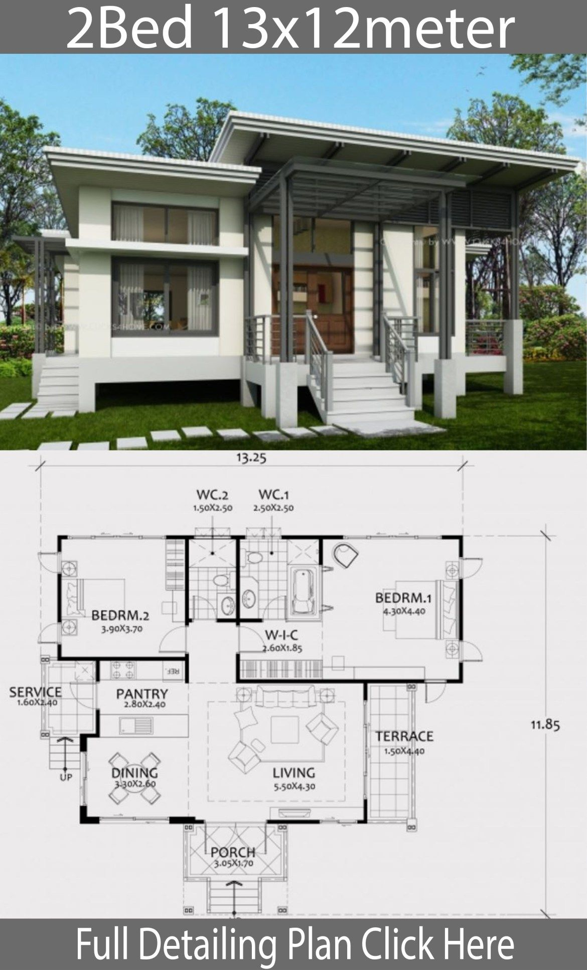 One Story House Plan 13x12m With 2 Bedrooms Home Design With Plansearch Brick Exterior House House Plans Story House