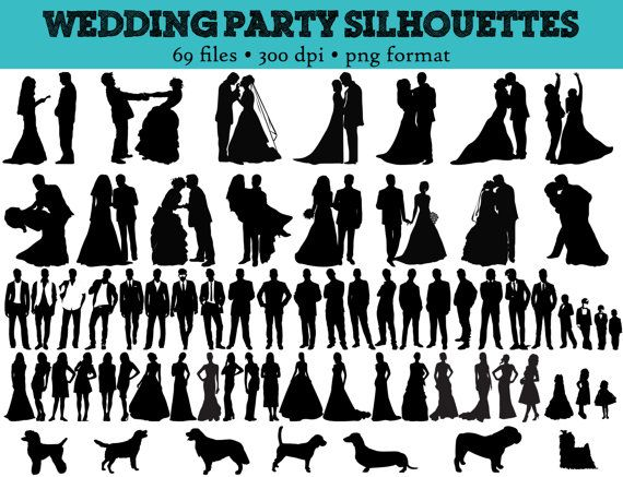 69 wedding party silhouettes wedding bride bridesmaid rh pinterest com wedding party clip art free Wedding Party Silhouette Clip Art