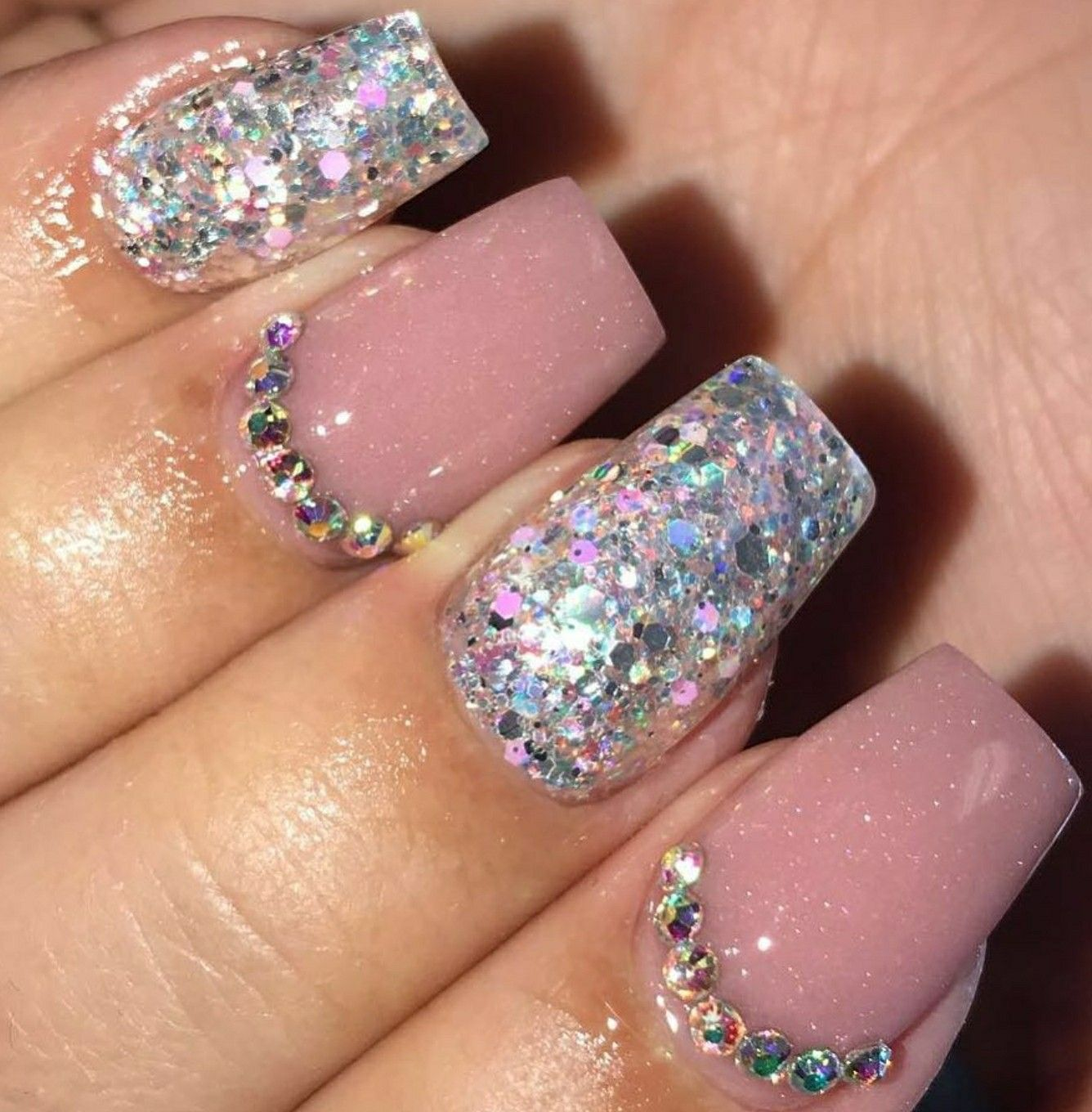 Short Square Nails. Nails With Rhinestones. Holo Glitter Nails. Nude ...